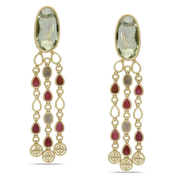 Miadora Signature Collection 14k Yellow Gold Green Amethyst and Colored Sapphire Earrings