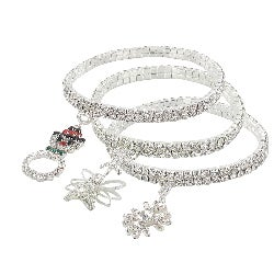 Roman Winter Themed Crystal Stretch Charm Bracelets