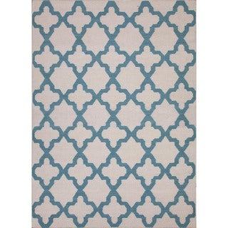 Flat Weave Geometric Blue Wool Flat-pile Rug (9' x 12')