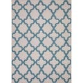 Flat-weave Geometric Blue Wool Area Rug (8' x 10')