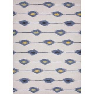 Flat Weave Tribal Blue Wool Rug (9' x 12')