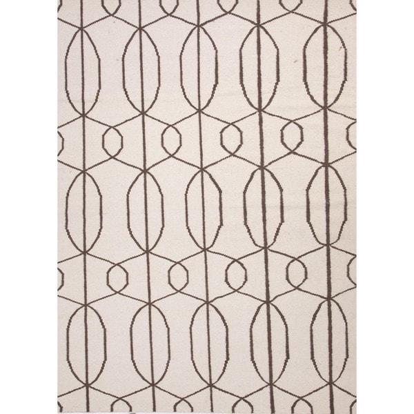 Flat Weave Geometric Ivory/ White Wool Rug (5' x 8')