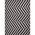 Flat-Weave Striped Geometric Gray/Black Wool Rug (9' x 12')