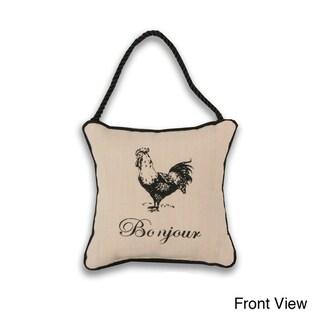 Reversible 'Bonjour/ Bon Nuit Rooster' 6-inch Door Hanger Pillow