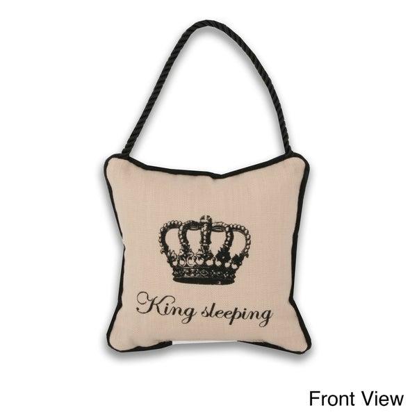 Reversible 'King/ Queen Sleeping' 6-inch Door Hanger Pillow
