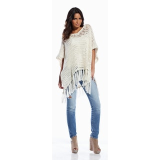 Elan Women's Sand Open Knit Sweater Poncho