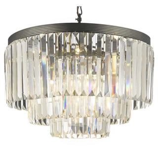 Odeon Crystal Glass Fringe 3-tier Chandelier