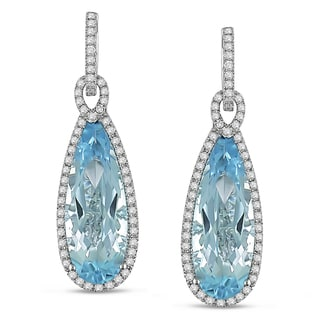 Miadora Signature Collection 14k Gold Blue Topaz and 1ct TDW Diamond Earrings (G-H, SI1-SI2)