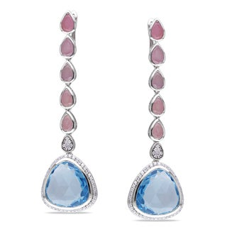Miadora 14k Gold Gemstone and 1/2ct TDW Diamond Earrings (G-H, SI1-SI2)