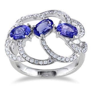 Miadora 14k Gold Tanzanite and 1/3ct TDW Diamond Ring (G-H, SI1-SI2)