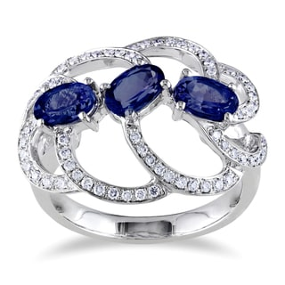 Miadora 14k Gold Sapphire and 1/3ct TDW Diamond Ring (G-H, SI1-SI2)