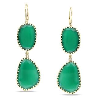 Miadora 14k Yellow Gold Green Onyx and Diamond Accent Earrings