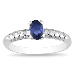 Miadora 18k Gold Sapphire and 1/8ct TDW Diamond Ring (H-I, SI2)