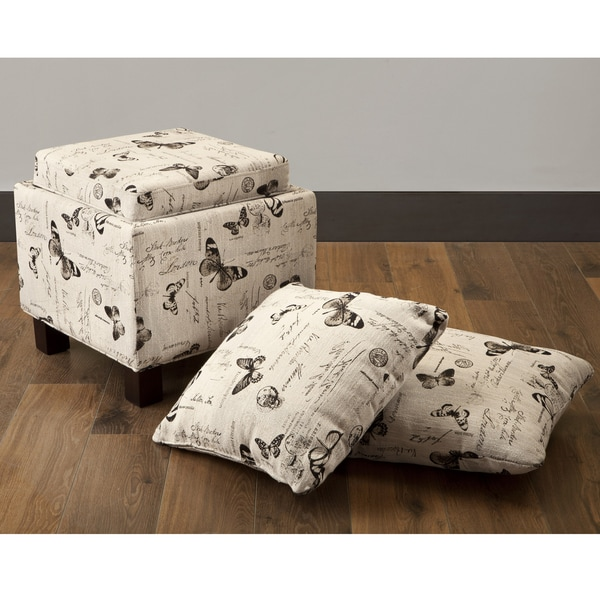 Ottoman with Butterfly Accent Pillows