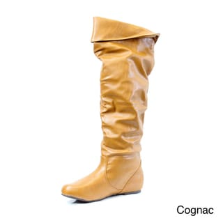 Stanzino Women's Mid-Calf Leather Look Slouch Boots