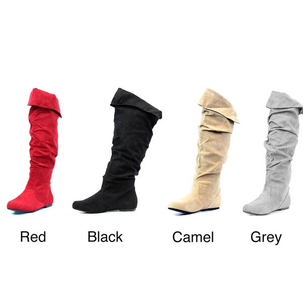 Stanzino Women's Mid-Calf Suede Look Slouch Boots