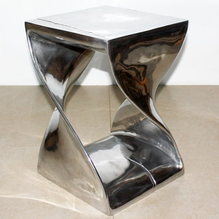 12-inches Square x 18 inches High Polished Recycled Aluminum Twist Stool (India)