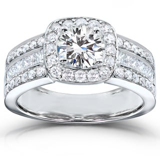 Annello 14k White Gold Moissanite and 1ct TDW Princess-cut Diamond Engagement Ring (H-I, I1-I2)