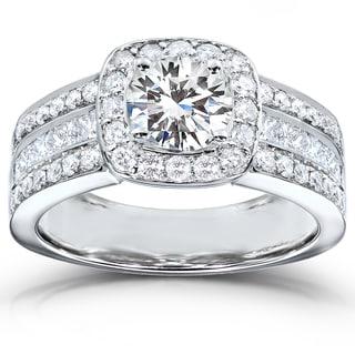Annello 14k White Gold Moissanite and 1ct TDW Princess-cut Diamond Engagement Ring (H-I, I1-I2)