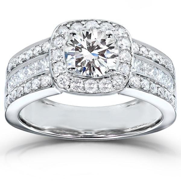 Annello 14k White Gold Moissanite and 1ct TDW Diamond Engagement Ring (H-I, I1-I2)
