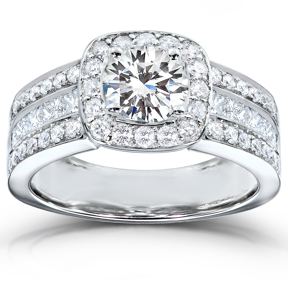 Eziba Collection 14k Gold Moissanite and 1ct TDW Diamond Engagement Ring (H-I, I1-I2) at Sears.com