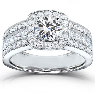Annello 14k White Gold Moissanite and 1ct TDW Diamond Engagement Ring (H-I, I1-I2)