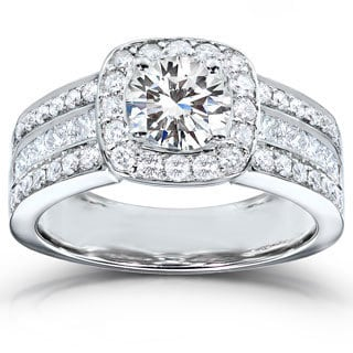 Annello 14k White Gold Moissanite and 1ct TDW Princess-cut Diamond Engagement Ring (H-I, I1-I2) with Bonus Item