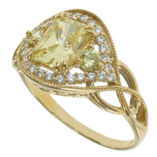 Michael Valitutti Signity 14k Yellow Gold Cubic Zircona Ring