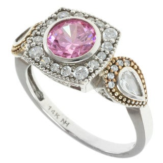 Michael Valitutti Signity 14k Gold Pink and White Cubic Zircona Ring