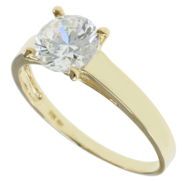 Michael Valitutti Signity 10k Yellow Gold Cubic Zircona Ring