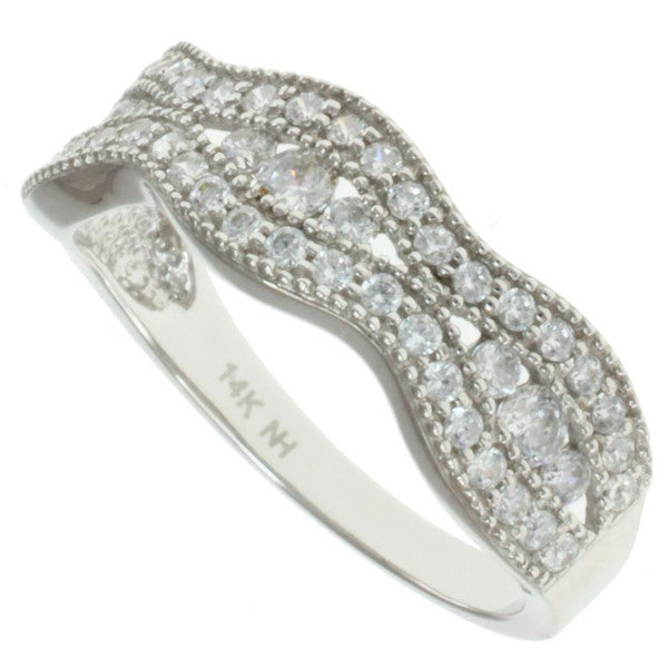 Michael Valitutti Signity 14k White Gold Cubic Zircona Ring