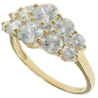 Michael Valitutti Signity 14k Yellow Gold White Cubic Zircona Ring