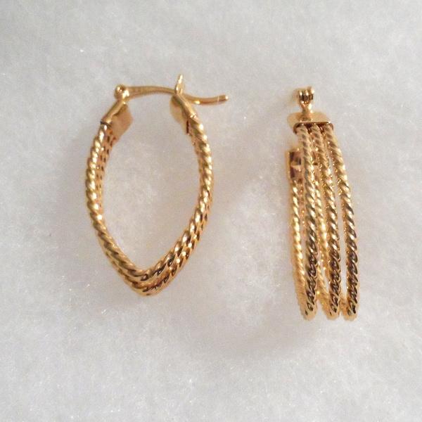 18k Gold Rope Hoop Earrings