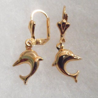 18k Gold Dolphin Earrings
