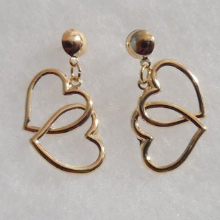 18k Gold Heart Stud Earrings