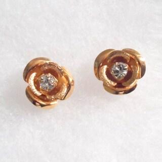 18k Gold Rose Stud Earrings