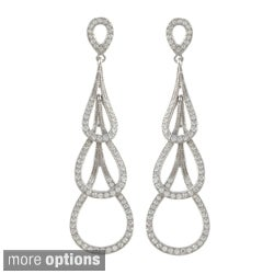 Sterling Silver Cubiz Zirconium Triple Teardrop Earrings