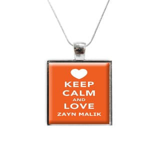 'Keep Calm and Love Zayn Malik' One Direction Glass Pendant and Necklace