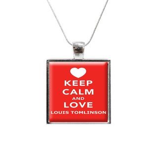 'Keep Calm and Love Louis Tomlinson' One Direction Glass Pendant and Necklace