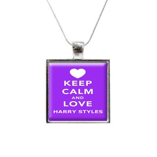 'Keep Calm and Love Harry Styles' One Direction Glass Pendant and Necklace