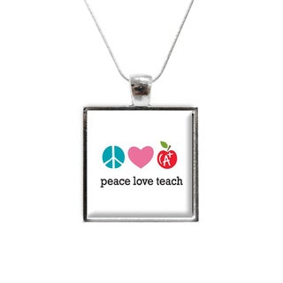 'Peace Love Teach' Glass Pendant and Necklace