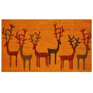 Christmas Deer Coir Weather-Resistant Doormat with Vinyl Backing (17 x 29)