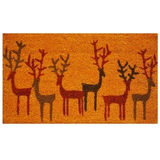 Christmas Deer Coir Weather-Resistant Doormat with Vinyl Backing (17 x 29)