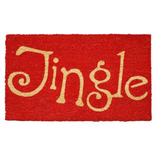 Jingle Red Coir Door Mat with Vinyl Backing (17 x 29)
