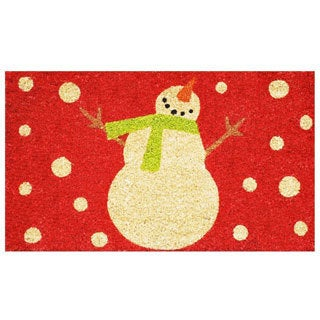 Holiday Snowman Coir Door Mat with Vinyl Backing (17 x 29)