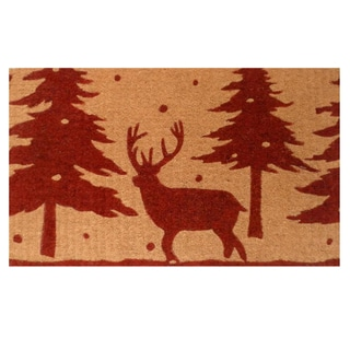 Christmas Deer Coir Door Mat with Vinyl Backing (17 x 29)