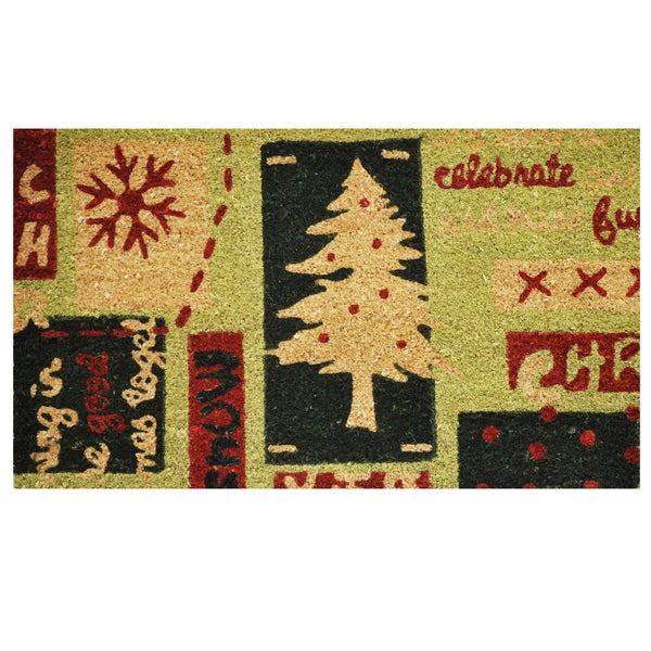Christmas Menagerie Coir Door Mat with Vinyl Backing (17 x 29)
