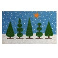 Topiary Christmas Coir Door Mat with Vinyl Backing (17 x 29)