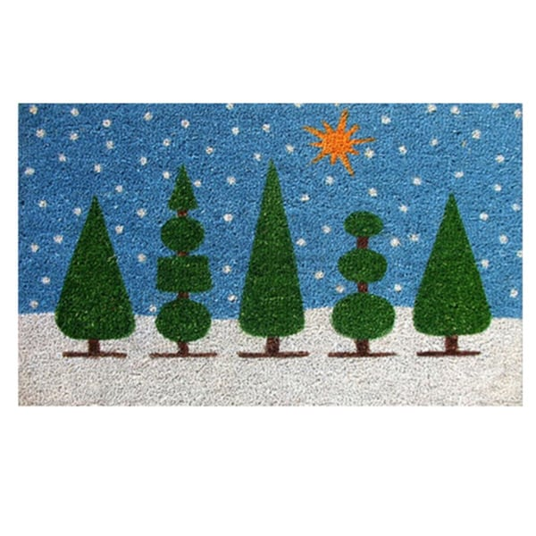 Topiary Christmas Coir and Vinyl Doormat (1'5 x 2'5)