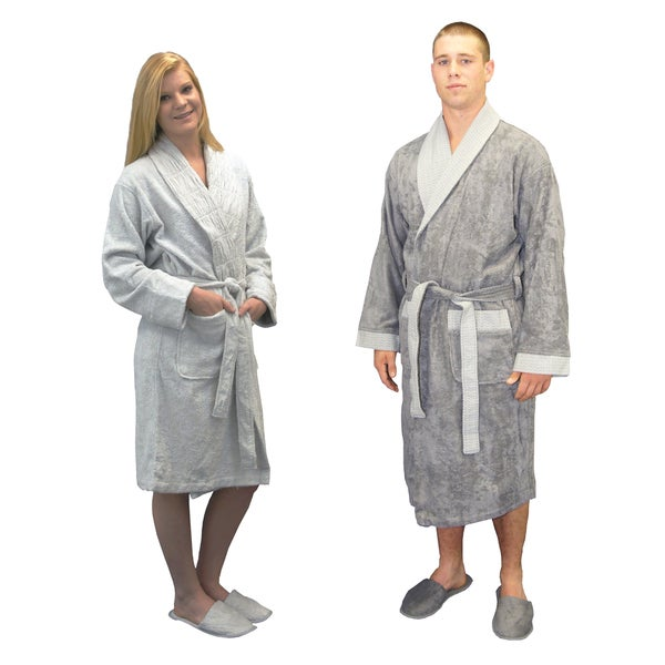Brielle Grey Turkish Cotton Blend 8-piece His & Hers Bath Robe Gift Set